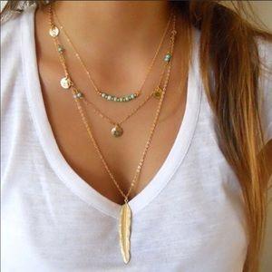 NEW! Boho Turquoise Gold Feather Layered Necklace
